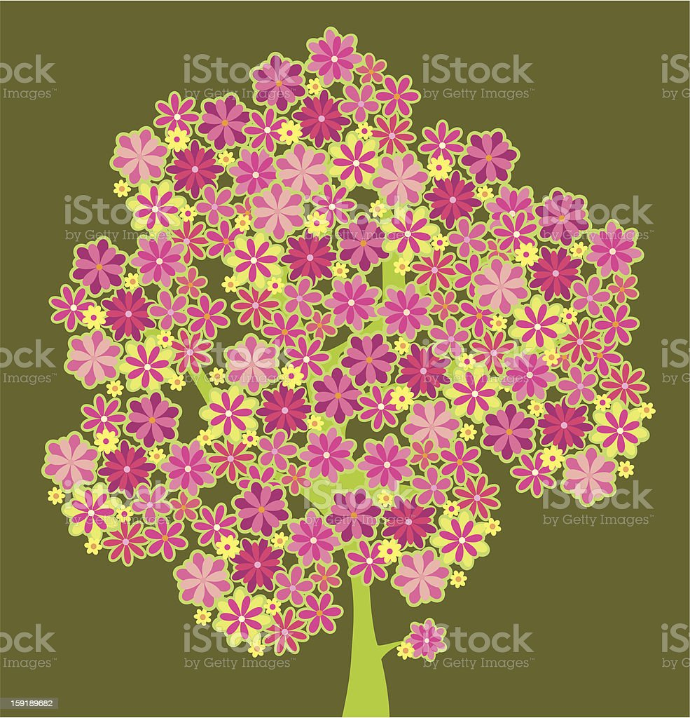 blossoming stylized decorative spring tree royalty-free stock vector art