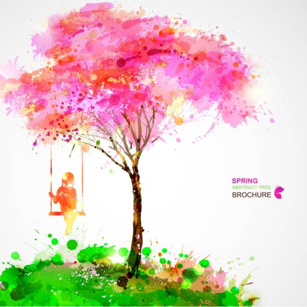stockillustraties, clipart, cartoons en iconen met blossoming tree - alleen één meisje