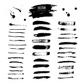 Blot and brushes big vector set. Realistic blots and brushes isolated on white background.