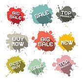 Blots - Splashes Vector Business Discount Labels
