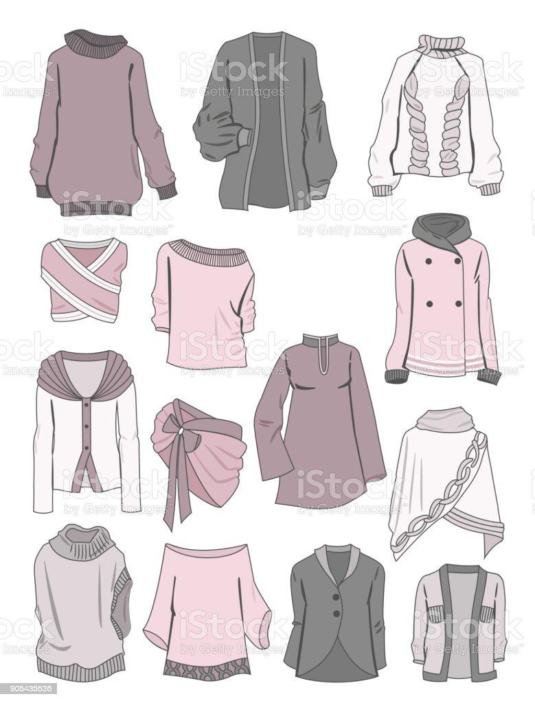 Blusen, Pullover und bolero – Vektorgrafik