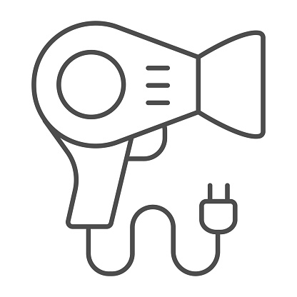 Blow drier thin line icon, makeup routine concept, hair drier sign on white background, hairdrier icon in outline style for mobile concept and web design. Vector graphics.
