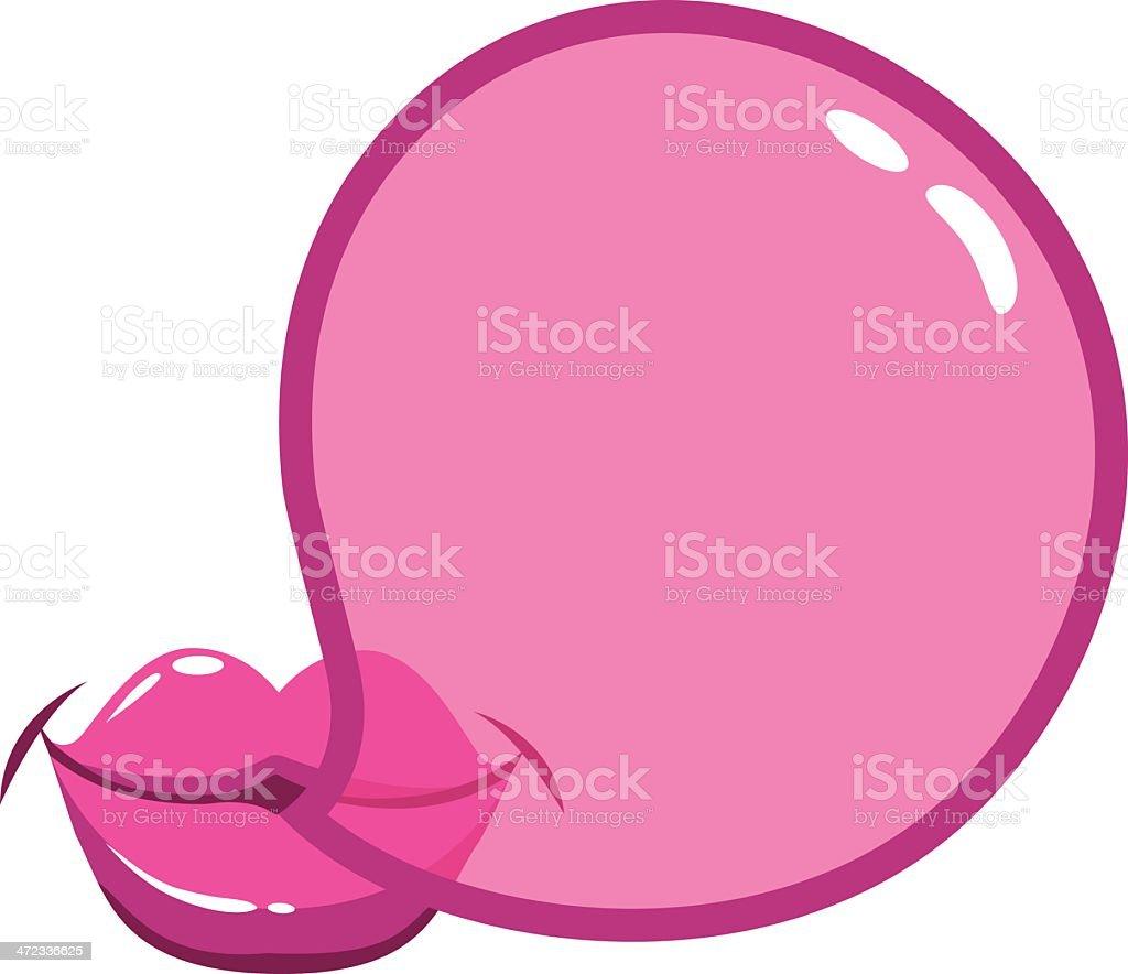 Blowing a bubblegum bubble vector art illustration