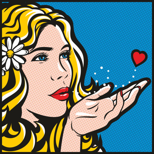 Blowing A Kiss vector art illustration