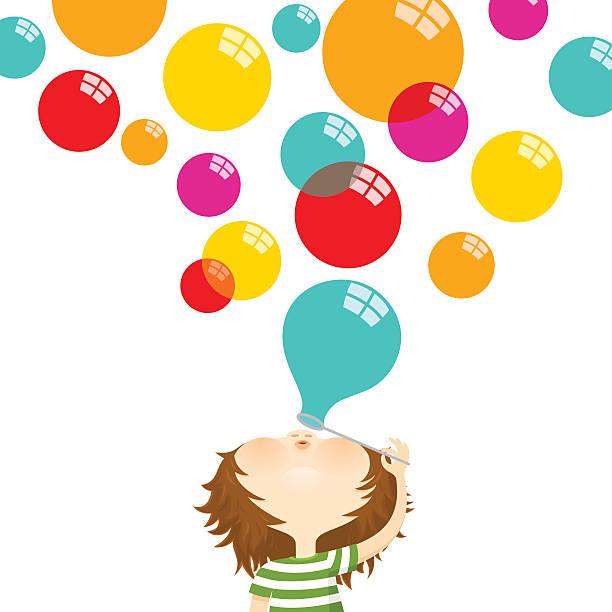 blowing bubbles.  happy kind - wunschkinder stock-grafiken, -clipart, -cartoons und -symbole