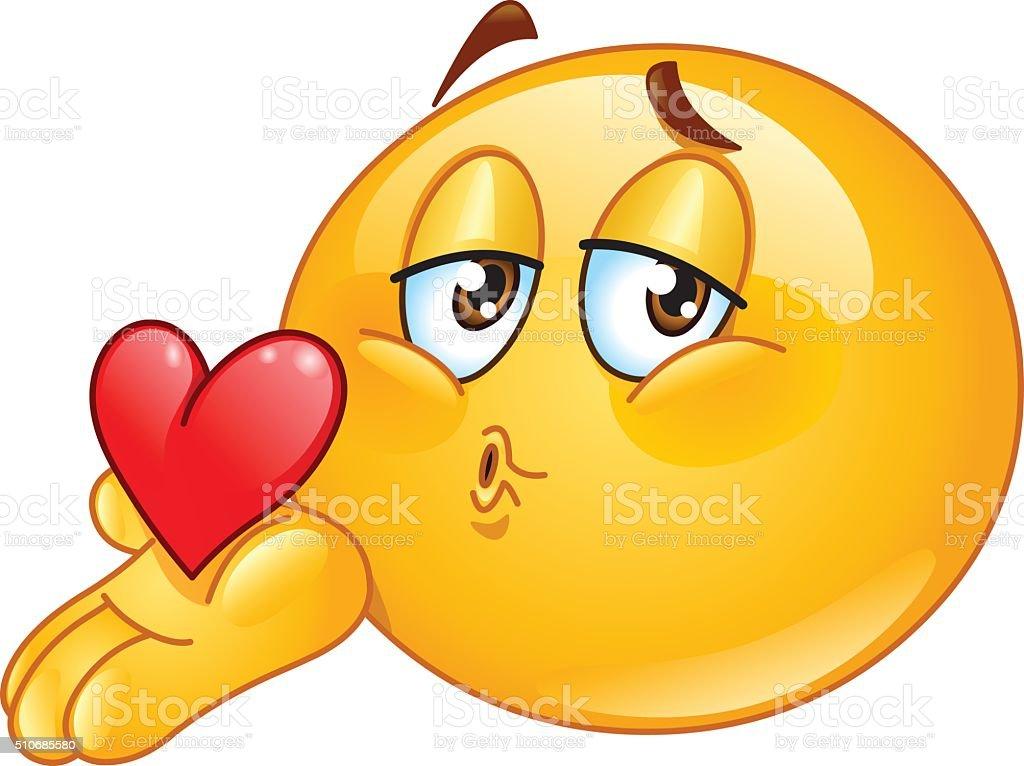 Blasen Kuss Männchen Emoticon Stock Vektor Art und mehr
