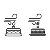 Blowing out the candles line and solid icon. Blow candle on party cake and make a wish. Happy Birthday vector design concept, outline style pictogram on white background, use for web and app. Eps 10