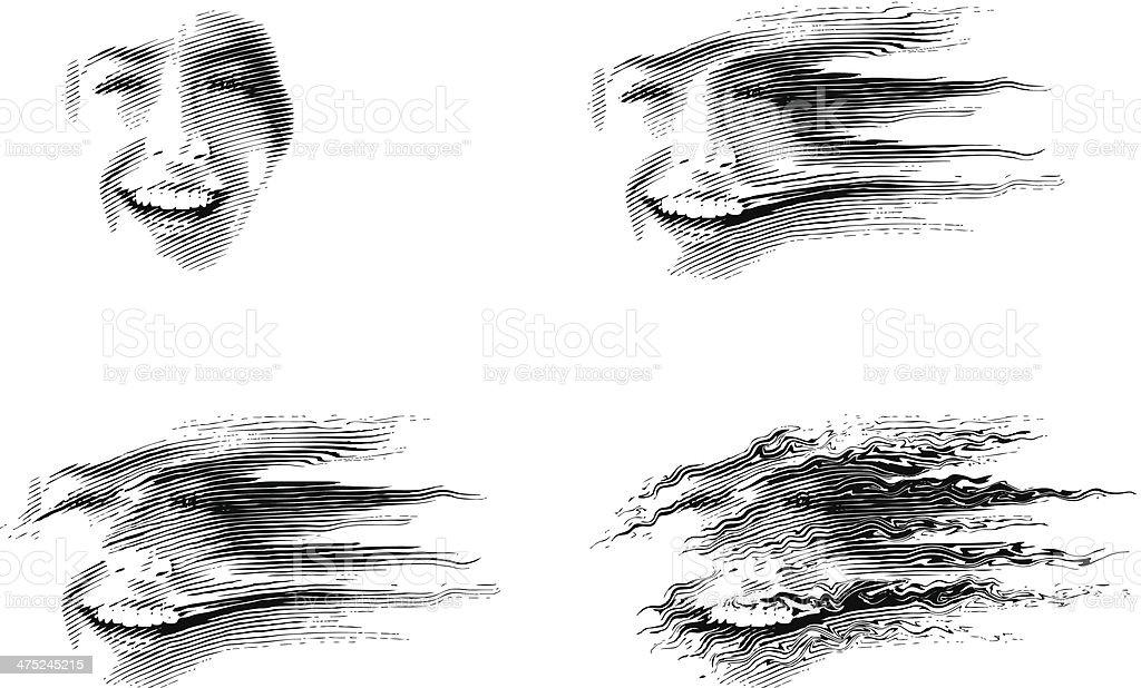 Blown Away vector art illustration