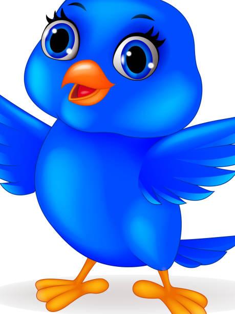 Blu bird cartoon vector art illustration