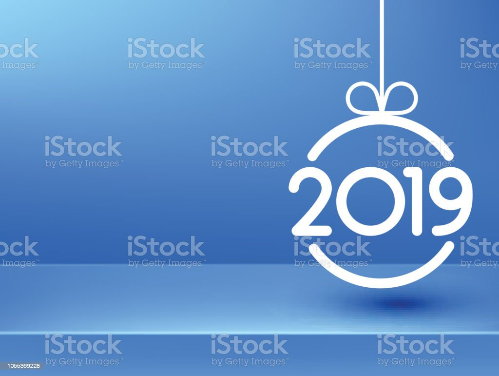 blue 2019 new year background with abstract christmas ball royalty free blue 2019 new