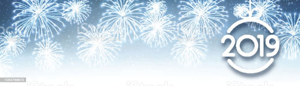 blue 2019 new year banner with christmas ball and fireworks royalty free blue 2019