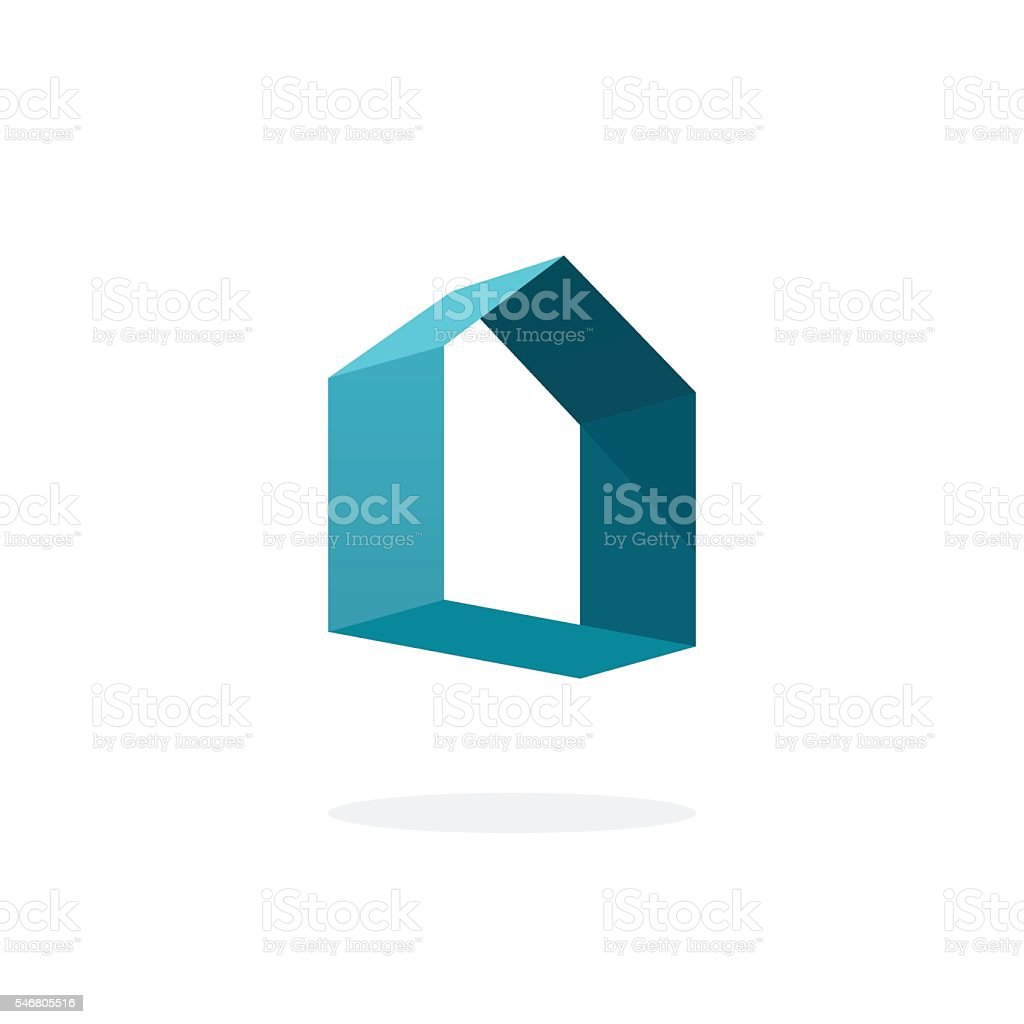 Blue 3d abstract geometric home logo, house technology sign vector art illustration