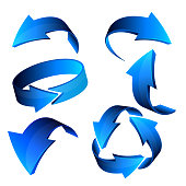 Blue 3d arrows, vector.