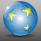 Blue 3D globe sphere and golden stars