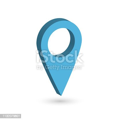 Blue 3D map pointer with dropped shadow on white background. EPS10 vector illustration.