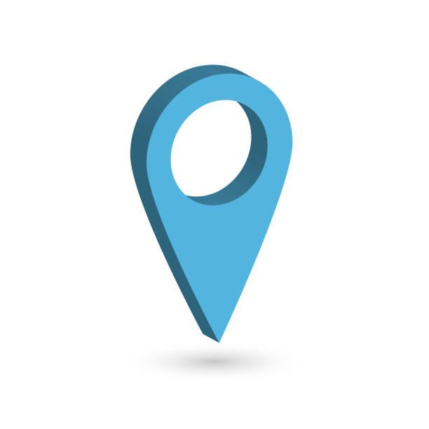 ilustrações de stock, clip art, desenhos animados e ícones de blue 3d map pointer with dropped shadow on white background. eps10 vector illustration - posição