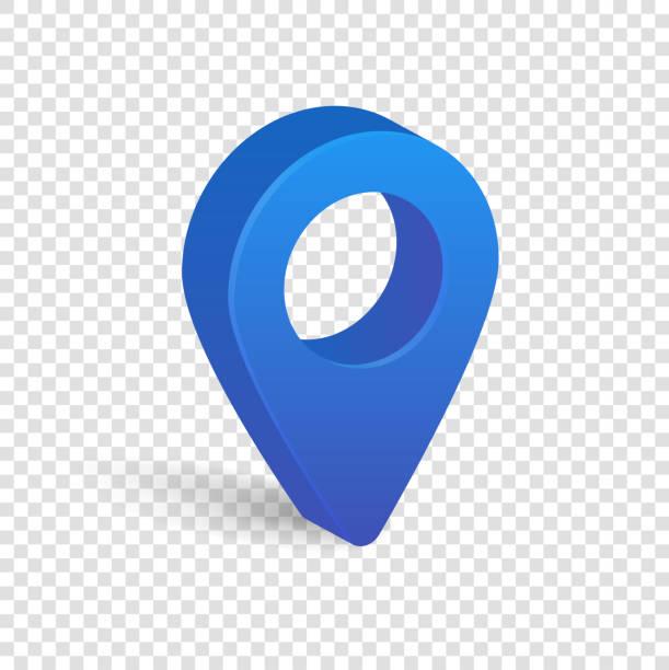 blaue 3d-zeiger karte auf transparenten hintergrund isoliert - heftzwecke stock-grafiken, -clipart, -cartoons und -symbole