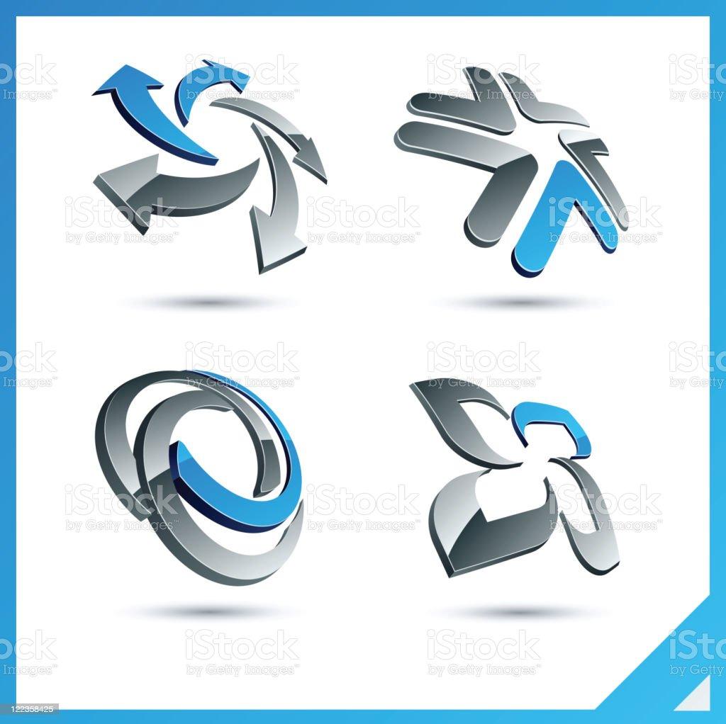 Blue 3d signs. vector art illustration