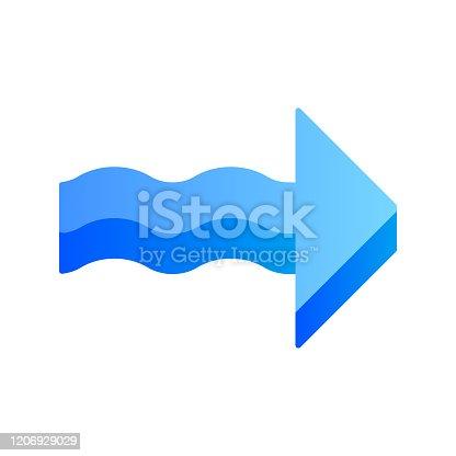 Azul 3d seta ondulada plano design longo ícone de cor sombra. Direção para a direita. Apontando ponta de flecha. Sinal apontando para a direita. Ponteiro de navegação, indicador. Indicando símbolo. Ilustração da silhueta vetorial