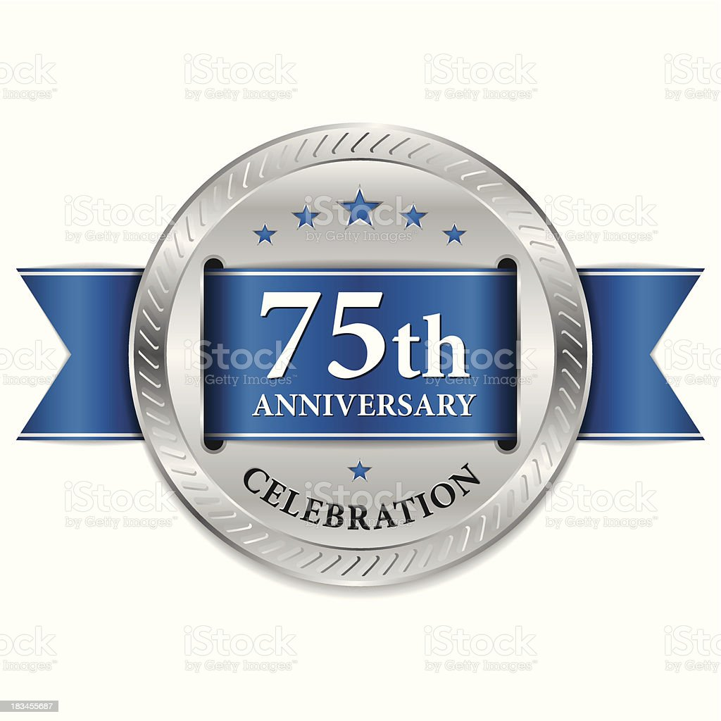 Blue 75th anniversary seal vector art illustration
