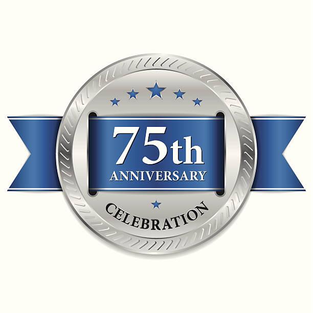Blue 75th anniversary seal vector art illustration