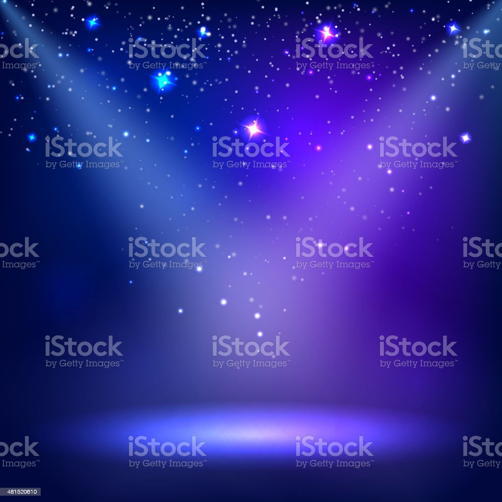 Blue a scenic with spotlight background. Vector illustrations vector art illustration