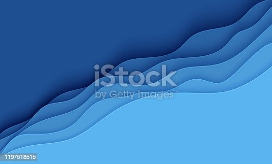 istock Blue abstract background in paper cut style. Layers of paper wavy water for World Oceans Day 8 June. Vector Earth posters template, ecology brochures, presentations, invitations with place for text 1197518515