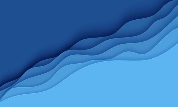 niebieskie abstrakcyjne tło w stylu cięcia papieru. warstwy papieru faliste wody na światowy dzień oceanów 8 czerwca. szablon plakatów vector earth, broszury ekologiczne, prezentacje, zaproszenia z miejscem na tekst - fala woda stock illustrations