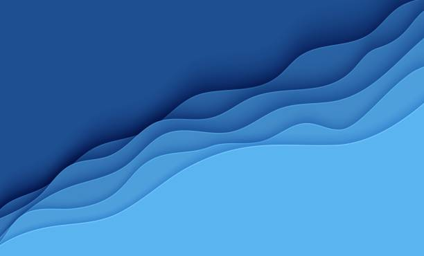 Blue abstract background in paper cut style. Layers of paper wavy water for World Oceans Day 8 June. Vector Earth posters template, ecology brochures, presentations, invitations with place for text Blue abstract background in paper cut style. Layers of paper wavy water for World Oceans Day 8 June. Vector Earth posters template, ecology brochures, presentations, invitations with place for text. wave water stock illustrations