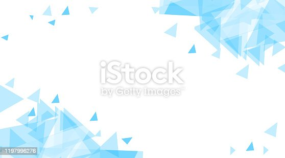 istock Blue Abstract background of chaotically moving triangles. 1197996276