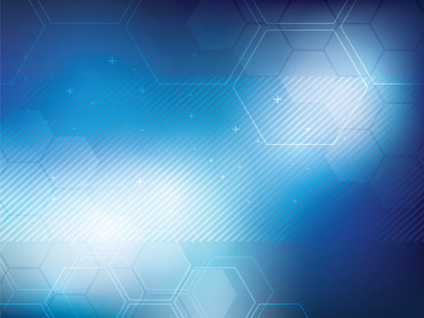 Blue abstract background technology Blue abstract background technology with hexagonal shapes. Bright background and vibrant color. blue backgrounds stock illustrations