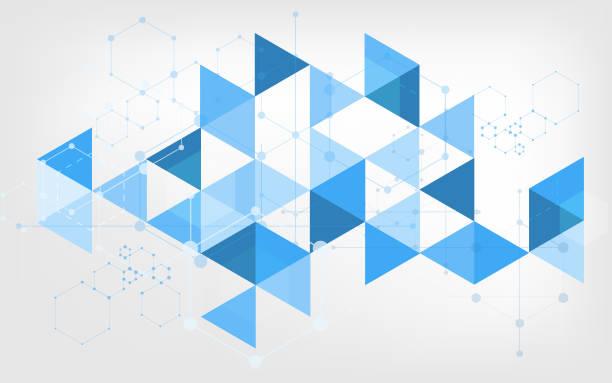 stockillustraties, clipart, cartoons en iconen met blauwe abstracte achtergrond - triangel
