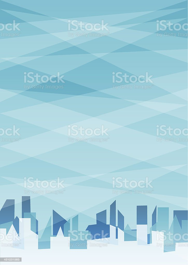 Blue abstract background with city. vector art illustration