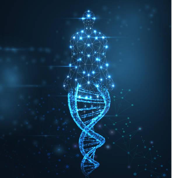 藍色抽象背景與明亮的 dna 分子, 霓虹燈螺旋和人體。 - dna 幅插畫檔、美工圖案、卡通及圖標