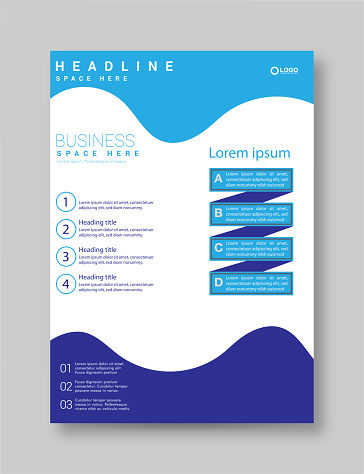 Blue abstract business annual report template design stock illustration
