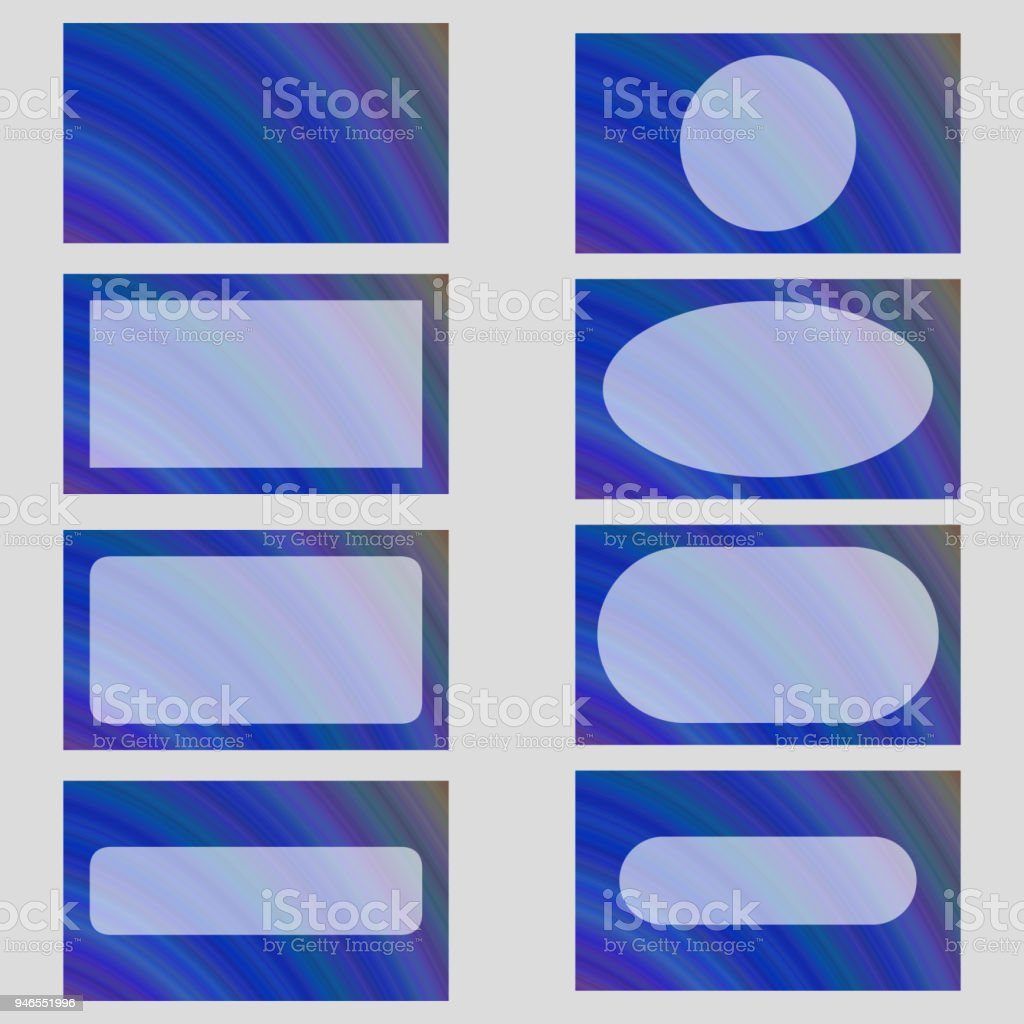 Blue Abstract Business Card Frame Template Set Stock Vector Art ...