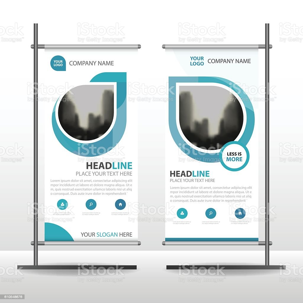 Blue Abstract Business Roll Up Banner flat design template Abstract vector art illustration