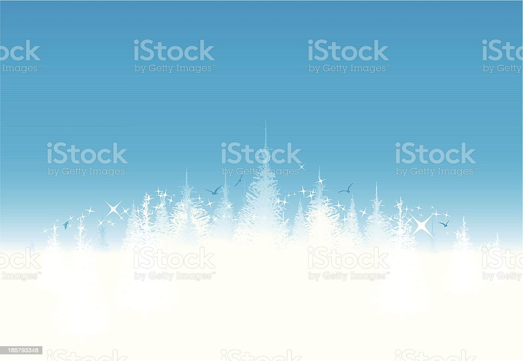 Blue abstract Christmas  background with trees vector art illustration