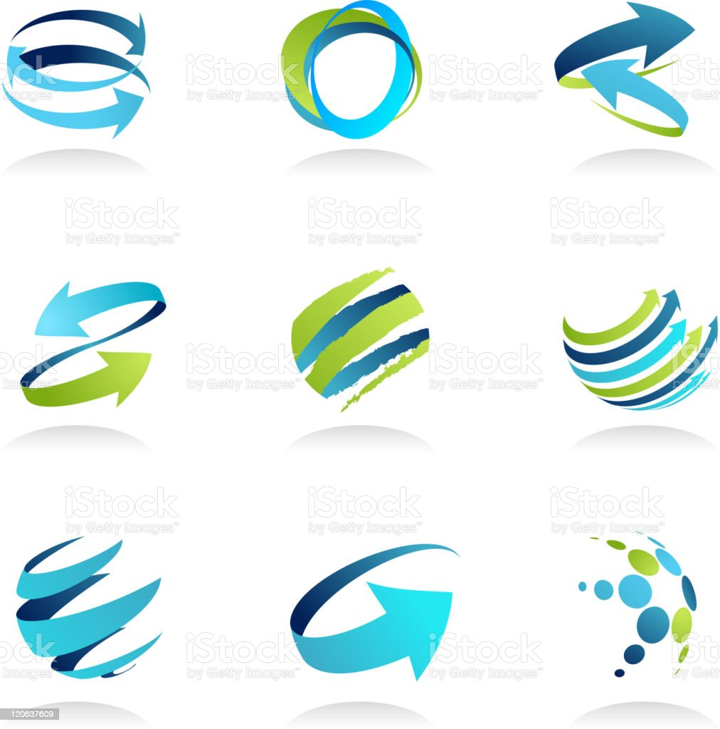 Blue abstract design elements and icons vector art illustration