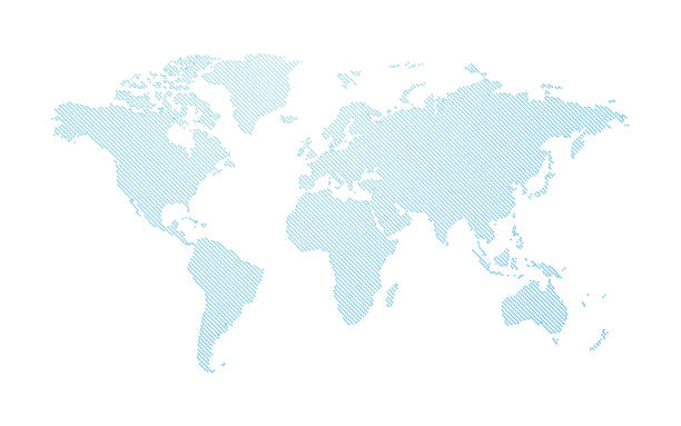 blue abstract dotted world map vector art illustration