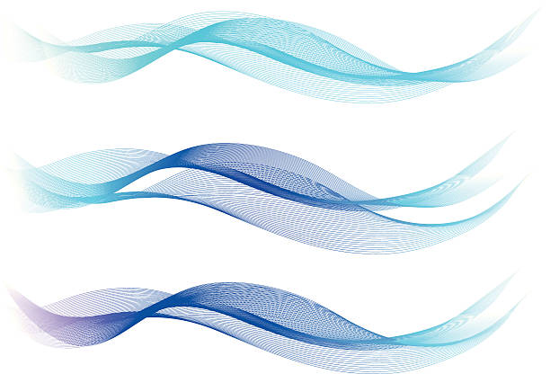 Blue Abstract Lines - Waves vector art illustration