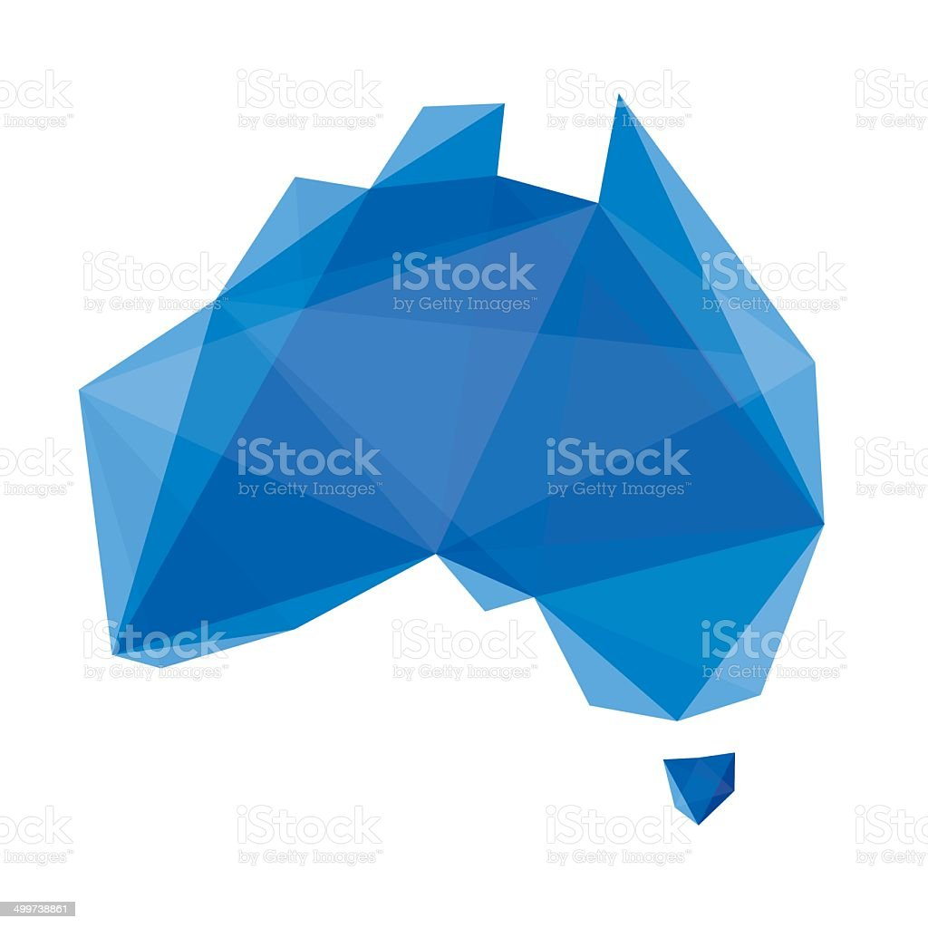 blue abstract map of Australia in origami style vector art illustration