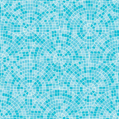 Blue abstract mosaic seamless pattern. Fragments of a circle laid out from tiles trencadis. Vector background.