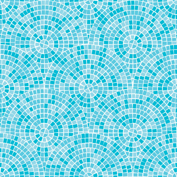 Blue abstract mosaic seamless pattern. Fragments of a circle laid out from tiles trencadis. Vector background. Abstract mosaic seamless pattern. Fragments of a circle laid out from a mosaic tiles trencadis. Neutral light Vector background for design and decorate backdrop. Ceramic tile fragments endless texture bathroom backgrounds stock illustrations