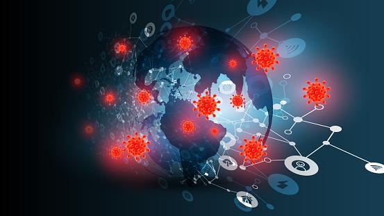 Blue abstract network backround with globe amd coronavirus, vector illustration