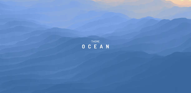 Blue abstract ocean seascape. Sea surface. Water waves. Nature background. Vector illustration for design. vector art illustration