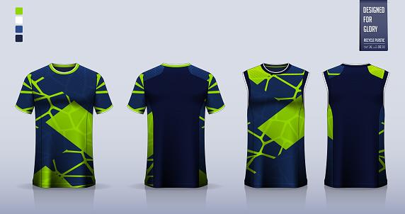 Blue Abstract pattern T-shirt sport, Soccer jersey, football kit, basketball uniform, tank top, and running singlet mockup.Vector.