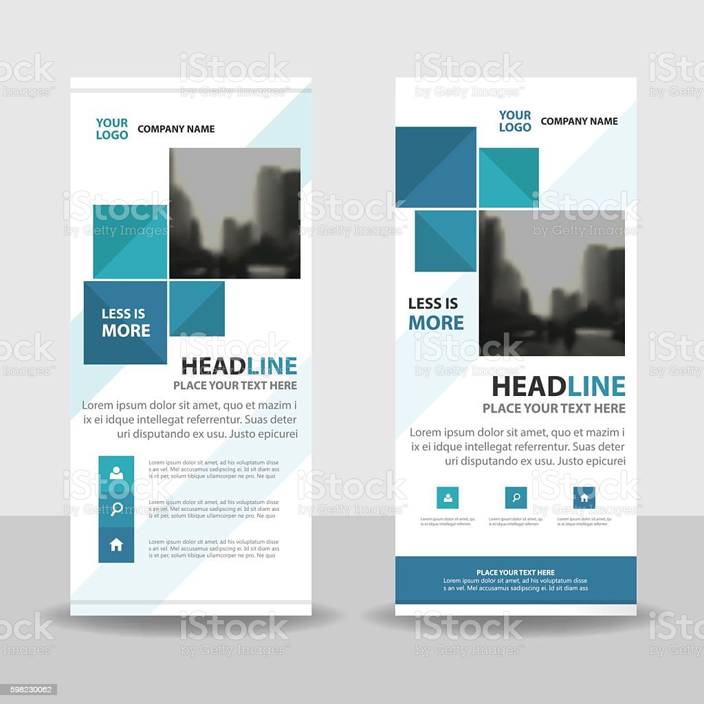 Blue Abstract square Business Roll Up Banner flat design template vector art illustration