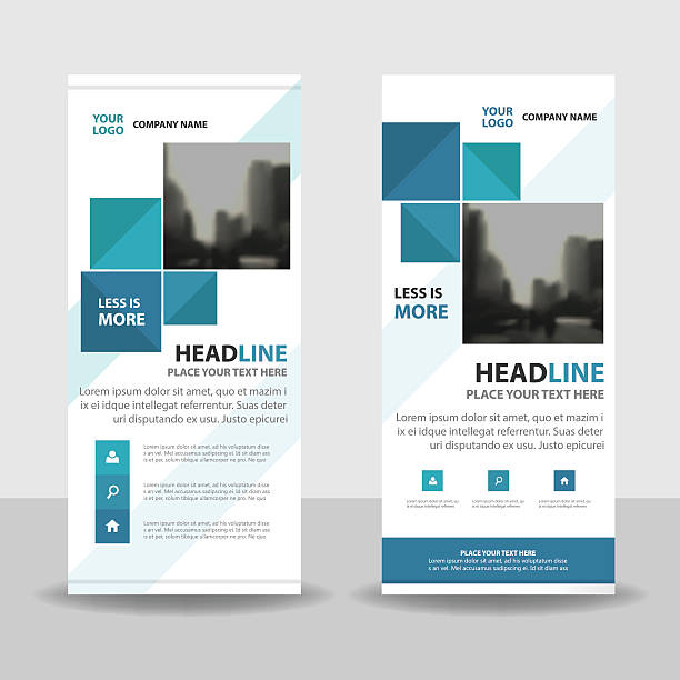 Blue Abstract square Business Roll Up Banner flat design template Blue Abstract square Business Roll Up Banner flat design template ,Abstract Geometric banner template Vector illustration set, abstract presentation template rolling stock illustrations