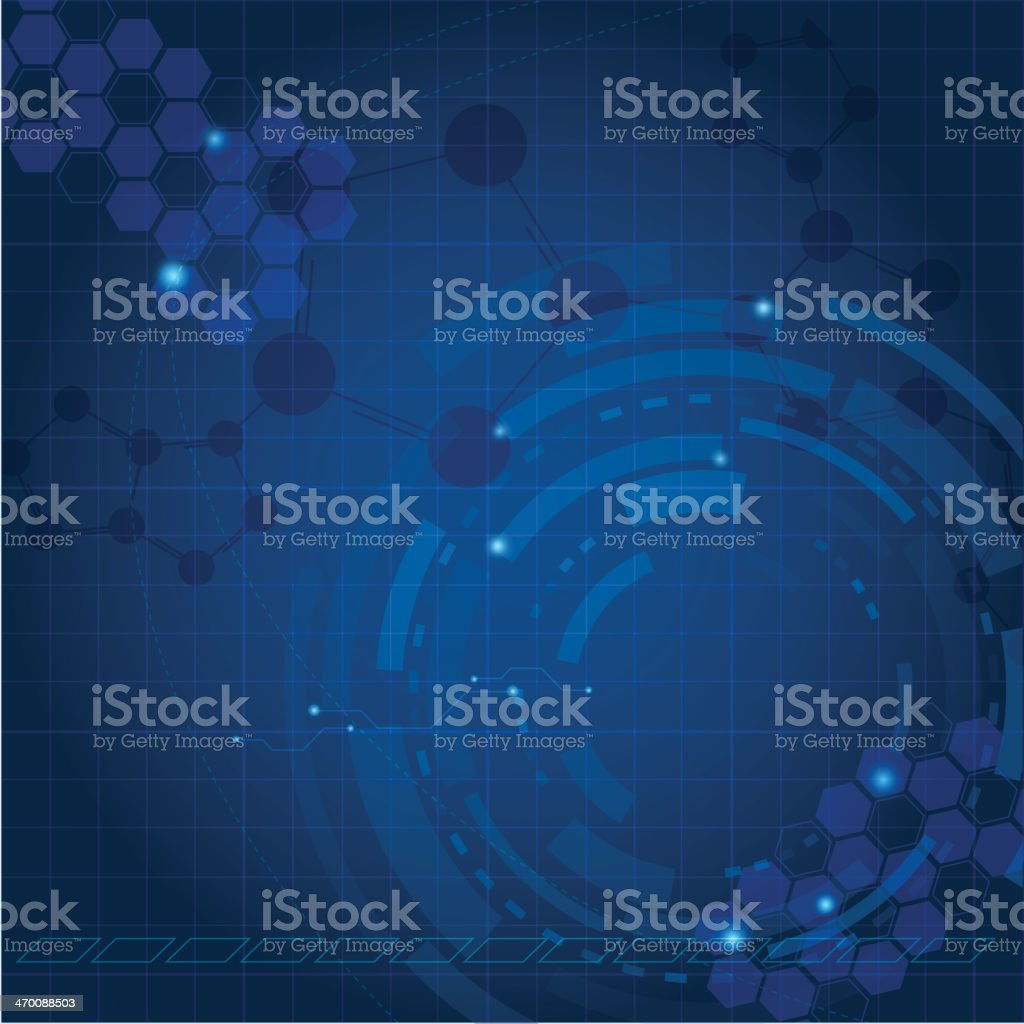 A blue abstract tech background with lighter designs vector art illustration